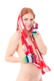Young woman in colorful scarf Royalty Free Stock Photos