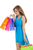 Young woman with colorful shopping bags Stock Image