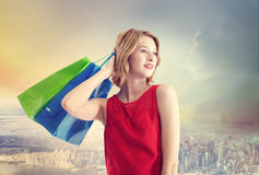 Young Woman with Colorful Shopping Bags Stock Photography