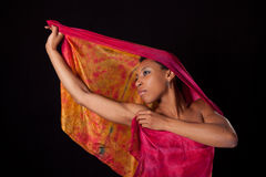 Young woman with colorful veil Royalty Free Stock Photography