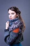 Young woman in colorful winter outfit. Royalty Free Stock Photography