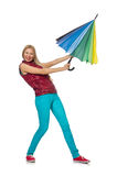 Young woman with colourful umbrella isolated Stock Photography