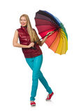 Young woman with colourful umbrella Royalty Free Stock Images
