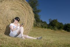 Young woman communication technology Royalty Free Stock Photography