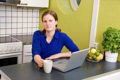 Young woman with Computer and Royalty Free Stock Photo