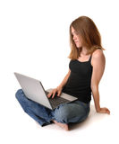 Young woman with computer Royalty Free Stock Photos