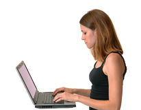 Young woman with computer Stock Image