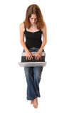 Young woman with computer Royalty Free Stock Image