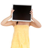 Young woman with computer screen head Royalty Free Stock Photography
