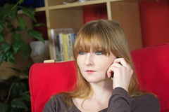Young woman concentrates during a calling Stock Images