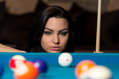 Young Woman Concentration On Ball Royalty Free Stock Images