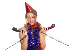 Young woman in cone hat with  phone Stock Image
