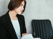 Young woman confident business colleague look royalty free stock image