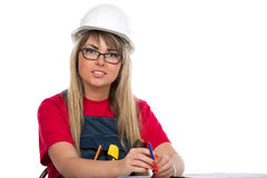 Young woman construction worker Stock Photography