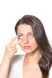 Young woman with contact lenses Royalty Free Stock Photos