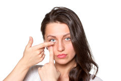 Young woman with contact lenses Stock Images