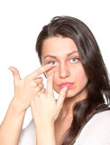 Young woman with contact lenses Stock Photo