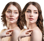 Young woman with contouring sample on face. Royalty Free Stock Photos
