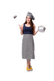 The young woman cook isolated on white background Stock Photography