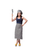 The young woman cook isolated on white background Royalty Free Stock Photography
