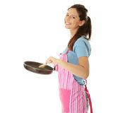 Young woman cooking. Healthy food, isolated on white Stock Photography