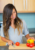 Young Woman Cooking. Healthy Food Stock Photos