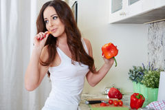 Young Woman Cooking. Healthy Food Stock Images