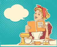 Young woman cooking and holding cook book in her hands on kitchen room.Reto style color illustration. With speech bubble for text royalty free illustration