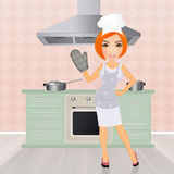 Young woman cooking royalty free illustration