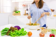 Free Young Woman Cooking In The Kitchen. Healthy Food - Vegetable Salad. Diet. Dieting Concept. Healthy Lifestyle. Cooking At Home. Stock Photography - 159170482