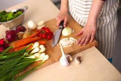 Young Woman Cooking in the kitchen. Healthy Food Stock Images