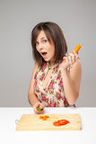 Young Woman Cooking in the kitchen Stock Photography