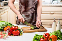 Young woman cooking in the kitchen at home. A woman cuts a cucumber and vegetables with a knife. Stock Photos