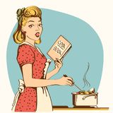Retro young woman cooking soup in her kitchen room.Vector color. Young woman cooking soup in her kitchen room.Reto color style poster Royalty Free Illustration