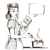Retro young woman cooking soup in her kitchen room.Vector graphi. Young woman cooking soup in her kitchen room.Reto style poster with speech bubble Royalty Free Illustration