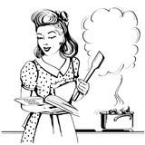 Retro young woman cooking soup in her kitchen room.Vector graphi. Young woman cooking soup in her kitchen room.Reto style poster with speech bubble for text Stock Illustration