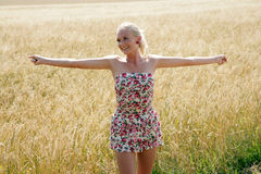 Young woman in a cornfield. Young blonde woman in a summer dress is standing in front of a cornfield Royalty Free Stock Images
