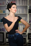 Young woman in cosmetics shop Stock Photo