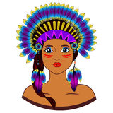 Young woman in costume of American Indian. Stock Photos