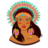 Young woman in costume of American Indian. stock illustration