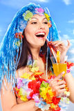 Young woman in  costume of hawaii. Stock Photos