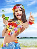 Young woman in  costume of hawaii. Stock Photo