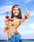 Young woman in  costume of hawaii. Stock Image