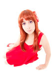Young woman in a costume, white background Stock Photos
