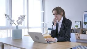 Young Woman Coughing at Work in Office, Cough stock photos