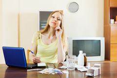 Young woman counting the cost of medications Royalty Free Stock Photography