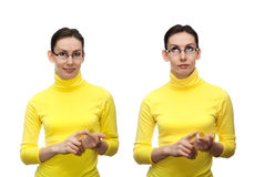 Young woman counting fingers isolated white Stock Images