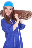Young woman in and coveralls with wicker mat Royalty Free Stock Photos