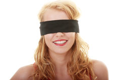 Young woman with covered eyes Stock Photos