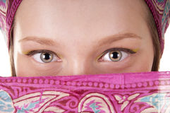 Young woman with covered face Royalty Free Stock Photos